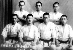 Mas Oyama, second from left, Shotokan Dojo 1943