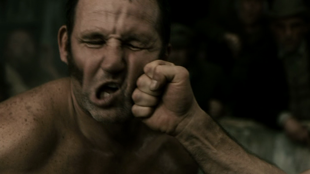 Bare fist bloody knuckles strange ways really. agree